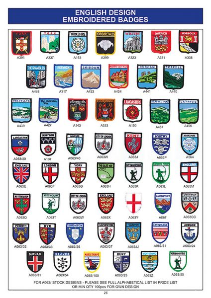 souvenir english embroidered badges