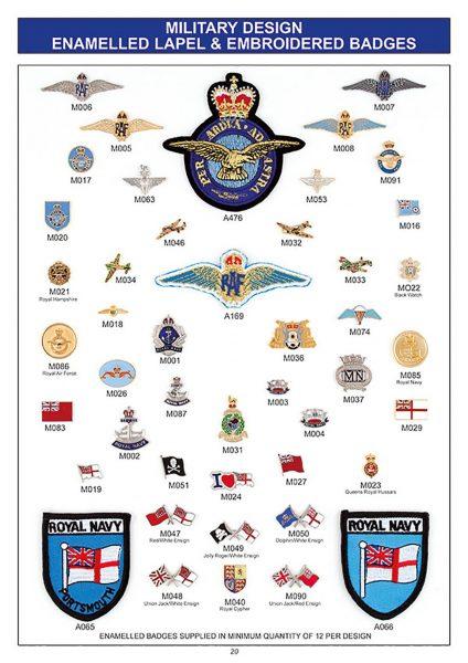 souvenir military designs enamelled lapel badges