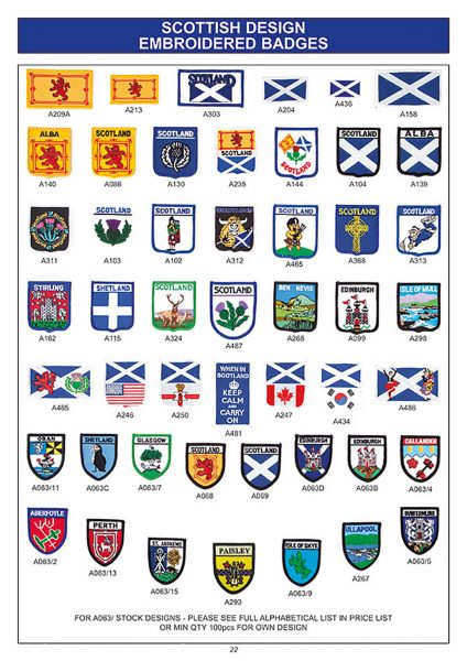 souvenirs scottish embroidered badges